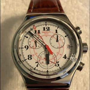 Swatch Watch with Brown Leather Band
